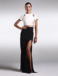 Homecoming Formal Evening Dress Sheath/Column Jewel Floor-length Charmeuse