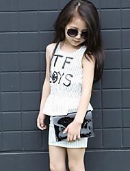 Alphabet Striped Vest + Skirt Children Suit (2 Pcs)