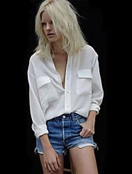 Women's Stand Shirt , Chiffon Long Sleeve