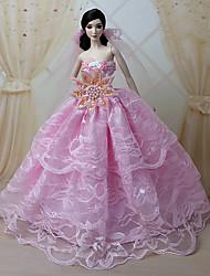 Poupée Barbie - Rose - Soirée & Cérémonie - Robes - en Organza/Dentelle