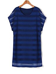 Women's V Neck Plus Size Dress , Polyester Above Knee Short Sleeve