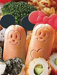 Cartoon Mouse Sausage Cutter Mold with Picks Lunch Bento Maker