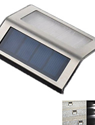 Outdoor Solar Power 2 LED Light Garden Pathway Stairs Wall Stainless Steel Lamp