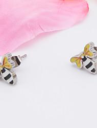 A Woman's Stainless Steel Bee Earrings