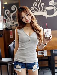 Women's Sexy/Casual D Sleeveless Deep V Neck Metal Button Tank Top Regular T-shirt (Cotton/Spandex)