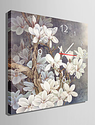 Modern Style Grey Floral Wall Clock in Canvas