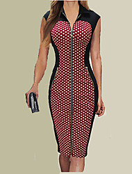 Women's Party/Cocktail Bodycon Dress,Polka Dot Shirt Collar Knee-length Short Sleeve Red / Green Summer