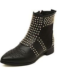 Women's Shoes Flat Heel Bootie Boots Casual Black/White