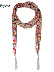 D Exceed Scarfs Women's Jewelry Scarves Hot Selling Soft Chiffon Print Winter Tassel Scarf Necklace For Lady's Gift