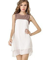 Women's Color Block Double Deck Sleeveless Loose Chiffon Dress
