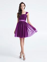 Lanting na altura do joelho da dama de honra tule vestido - de uva mais tamanhos / pequeno A linha Praça