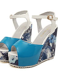 Women's Shoes /Patent Leather Wedge Heel Wedges/Platform/Creepers Sandals Casual Blue/Red/White