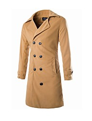 Men's Lapel Collar Tweed Basic Long Sleeve Long Parka Coat