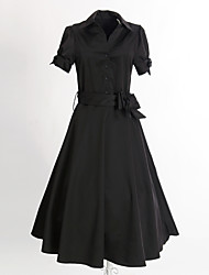 Women's Vintage 50s Cuff Bow Swing Dress(with Belt)