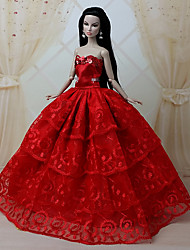 Muñeca Barbie - Rojo - Fiesta y Noche - Organza/Encaje - Vestidos - Vestidos