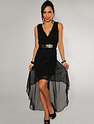 Women's Gold Spikes Belted High-Low Dress