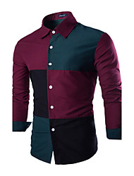 Men's Casual/Daily Simple Shirt,Color Block Square Neck Long Sleeve White / Green Cotton