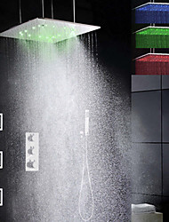 Thermostatic Atomizing And Rainfall LED Shower Faucet, 20 Inch Brushed  3 Colors LED Shower Head And Body Spray Jets