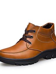 Men's Shoes Casual Leather Boots Black / Brown / Orange