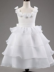 Princess Ankle-length Flower Girl Dress - Satin / Tulle Sleeveless Scoop with