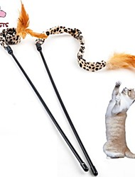 Cat Pet Toys Teaser / Feather Toy Leopard Brown Textile