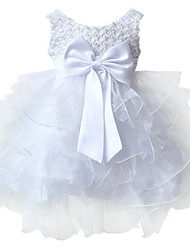 BHL Infant Girl's White Floral Dress Sleeveless Ball Dress Wedding Dresses Pageant Party Dresses For 0~2Y Baby Girls