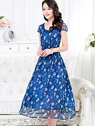 Women's Vintage Party Micro Elastic Short Sleeve Midi Dress (Chiffon)