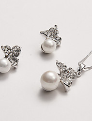 Elegant 3 Leaves Top Shell Pearl Pendant Necklace and Earrings Set