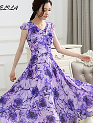 Women's Chiffon Print Long  Dress