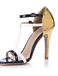 Women's Sandals Summer Comfort PU Wedding Party & Evening Dress Casual Stiletto Heel Black and Gold