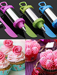 Set of 4 Cake Sugar Craft Tool Decorating Pen Set Pastry Nozzle Tip with Scraper (Random Color)