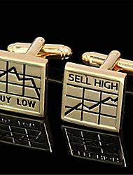 Men's Stock Market Buy Low Sell High Golden  Wedding Cufflinks