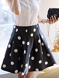 DABUWAWA Women's Casual/Print/Work  Polka Dot Skirts (Polyester)