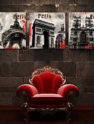 Prints Poster London Paris City Building Scenery Pictures Print On Canvas  3pcs/set (Without Frame)