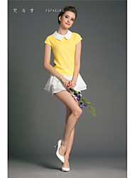 De las mujeres Camiseta Escote Chino - Algodón - Manga Corta