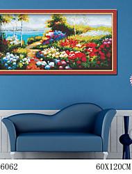 bricolaje pintura al óleo digital de gran tamaño sin pintura de la diversión de la familia marco All By Myself flores rurales 6062