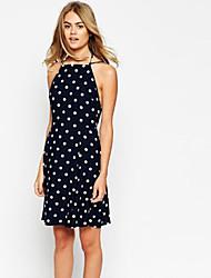 Women's Chiffon Polka Dot Backness Halter Dress