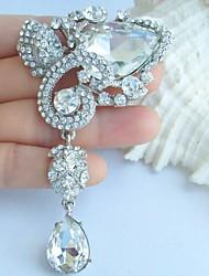 Wedding 3.54 Inch Silver-tone Clear Rhinestone Crystal Flower Bridal Brooch