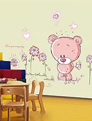 adesivi murali removibili simpatico orso autoadesivi della parete della camera da letto del fumetto dei bambini