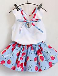 Cherries  Sleeveless T-shirt +Skirt Sweet  Suits (2 Pcs)