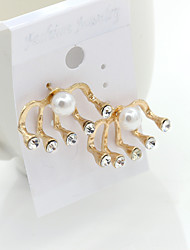 Stud Earrings Crystal Rhinestone Gold Plated 18K gold Simulated Diamond Fashion Gold Jewelry 2pcs