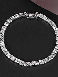 caldo saleparty platino placcato link / catena di perle grande lustro reale zircone cristallo