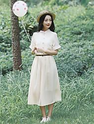 Women's Vintage/Casual/Party/Work Preppy Chic Short Sleeve Midi Dress (Chiffon)