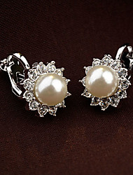 European Style Fashion Flowers Vintage Cute Alloy Rhinestone Clip Earrings
