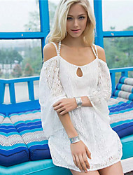 Women's Sexy Casual Lace Inelastic Long Sleeve Long Blouse (Lace)