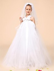 Flower Girl Dress Floor-length Tulle Ball Gown Sleeveless Dress(Headpiece Include)