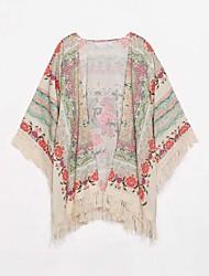Women's Print Multi-color Blouse , Print ½ Length Sleeve Tassel
