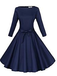 Nikki  Women's Vintage/Casual/Work Round ¾ Sleeve Dresses (Polyester)