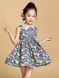 Girl's Cotton/Polyester Fashion Sweet Floral Lapel Sleeveless Princess Dress