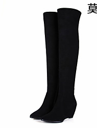 Women's Shoes Leather Wedge Heel Fashion Boots Boots Office & Career/Party & Evening/Casual Black